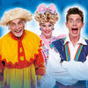 Clive Webb (Farmer Trott), Danny Adams (Jack Trott) and Chris Hayward (Dame Rita Trott)